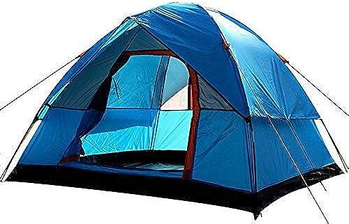 GFF CHYYZP Tente 3-4 Personne Coupe-Vent Camping Tente Double Couche Imperméable Anti UV Touristique Tentes pour Randonnée en Plein Air Plage Voyage
