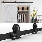 WOLFBIRD 5 FT/1,5 M Riel para puerta corredera Kit Wall Mount Guía para puerta corredera Sistema de puertas correderas con rodillos y rieles, apto para puertas individuales de madera (T-Forma)