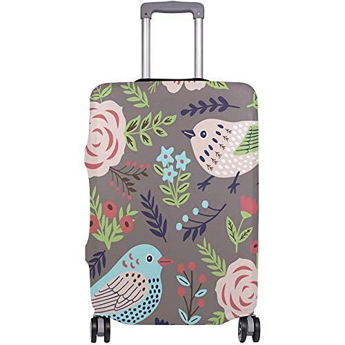Summer Spring Birds Floral Flowers Vintage Suitcase Luggage Cover Protector for Travel Men Women LGC-289 Size M