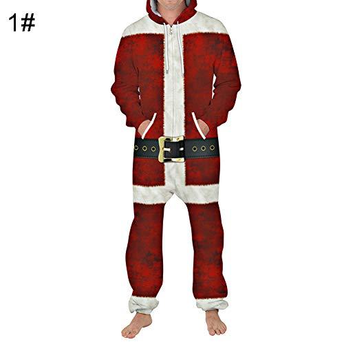 Lai-LYQ Volwassen Kerstman Kostuum Rits Hooded Jumpsuit Kerstmis Fancy Jurk Outfit Unisex
