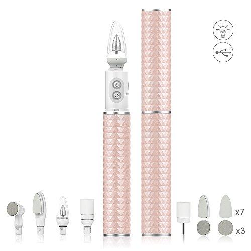 Set de pedicura y manicura profesional eléctrico recargable 7 en 1 Kit de herramientas para uñas, Pulidora Taladro Lima para uñas con luz LED para gel de uñas de acrílico