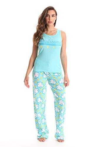 Just Love 100% algodón para mujer, conjunto de pantalones acanalados sin mangas y jersey, Azul - Daydreamer, M