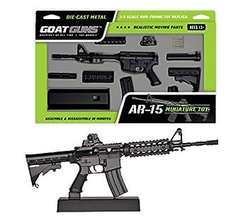 GoatGuns Miniature AR15 Model Toy Black | 1 3 Scale Die Cast Metal Build Kit
