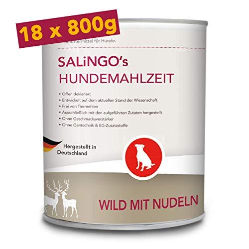 SALiNGO Hundefutter nass, Wild mit Nudeln, getreidefrei (18x800g)