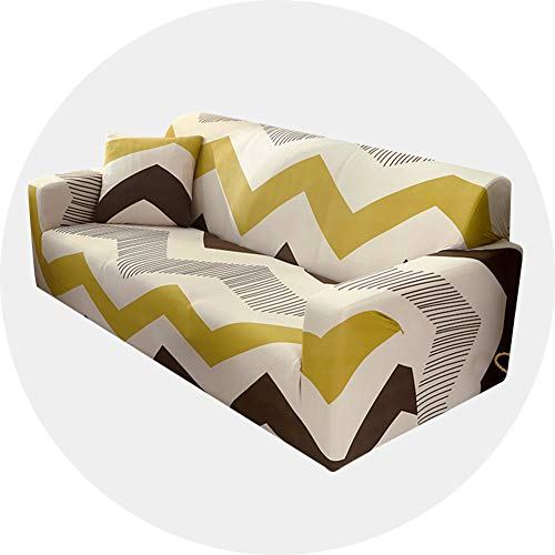 Carvapet Sofa Covers Stretch Settee Couch Cover Patterned Slipcovers 3 Seater, Yellow Stripe
