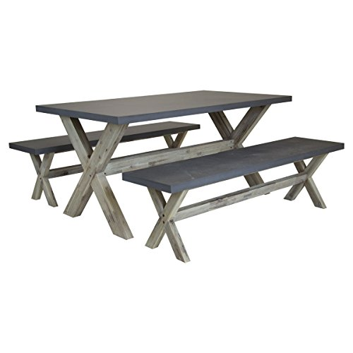 Charles Bentley Fibre Cement & Acacia Wood Industrial Indoor Outdoor Dining Set - Including Table & Two Benches - Grey