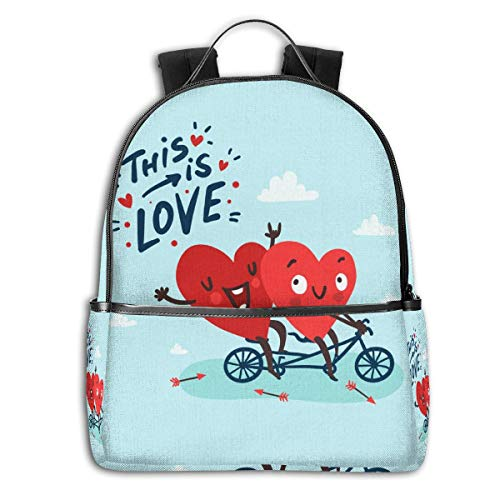 SITU Two Happy Hearts In Love Biking School Bookbag Notebook Computer Backpack Travel Bag For Boys Girls