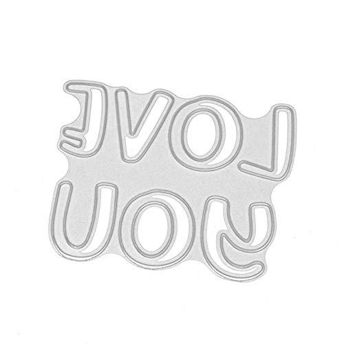 ZHOUBAA Stanzschablonen aus Metall für Bastelarbeiten, Motiv: Buchstabe Miss Love You, Stanzschablonen für Scrapbooking, Papierkarten, Dekoration, Schablone 2749