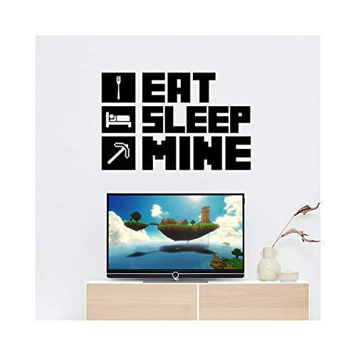 StickerDeen | Eat Sleep Mine Cote – Juego de niños y niñas adolescentes dormitorio habitación cueva de hombre casa PC Xbox PS5 Craft Wall Art calcomanía de vinilo regalo | (grande) (negro)