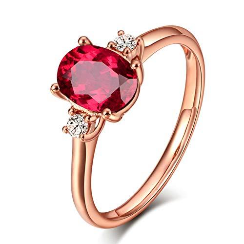 Socoz Mujer Unisex oro rosa de 18 quilates ovalada Red Tourmaline