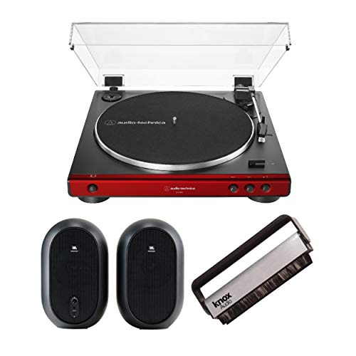 Sale!! Audio-Technica AT-LP60X Stereo Turntable (Red) Bundle with 104 Studio Monitors & Knox Gear An...