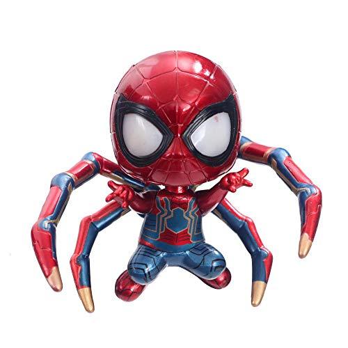WU ZHI Avengers 3 Glow Q Versione Shaking Head Spiderman Hero Scatola di Ritorno Mano Dell'uovo Red-C