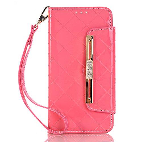 Apexel Handtas Stijl Portemonnee Flip Cover Case met Diamond, Touch Pen en Slot voor Samsung Galaxy S7 G9300 - Wit, Samsung Melkweg S7, 14.8 * 7.7 * 1.8CM, roze