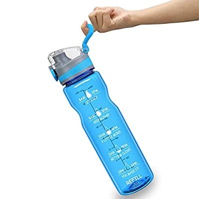 HSicily 32oz Leakproof Water Bottle with Time M...