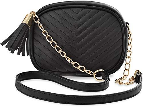 kleine gesteppte Damentasche mit Kettenriemen und Fransen schwarz