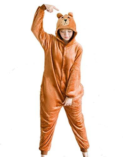 Ducomi Kigurumi Unisex Pijamas Adulto Cosplay Disfraz de Animal - Pijamas Disfraces Divertidos Peluche Halloween y Carnaval Mujer Hombre - Pijama Tuta Unicornio, Koala, Panda (Bear, M)