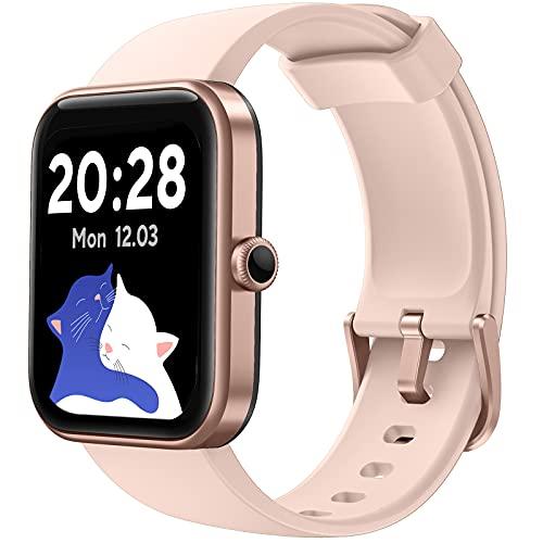 CUBOT Smartwatch Tracker Fitness Orologio Donna Uomo con Saturimetro (SpO2) Alexa Integrata, Cardiofrequenzimetro da Polso, 1.7 Pollici Touch Screen, Impermeabile 5ATM, per Android iOS Rosa