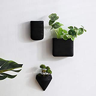 Wall Decor Planters 3 Set Black Ceramic Hanging Geometric Wall Decor Container - Great Succulent Plants, Air Plant, Faux Plants
