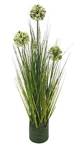 Künstlicher Grasbusch mit Allium Blüten Gras Zierlauch Lauch Kunstpflanze Dekogras künstliches Kunstgras Pflanzen Ziergras Grasbüschel Deko Grasarrangement Gräser Stehgras Grasbund 62 cm