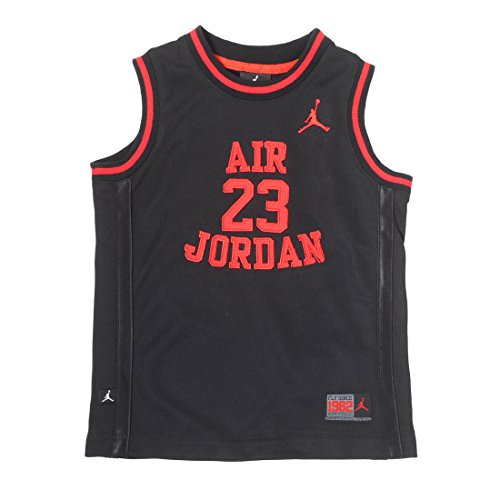 Nike Air Jordan Little Boys' 23 Basketball Classic Mesh Sleeveless Jersey (Black/Infrared, 5)