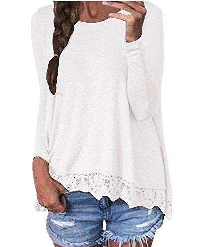 ZANZEA Damen Langarm Lace Crochet Tops Freizeit Lose Tunika T-Shirt Oberteil Weiß EU 44 / US 12 / Asian XL