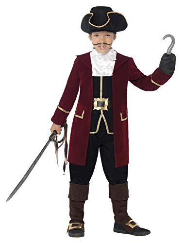 Smiffys Deluxe Pirate Captain Costume, Black, Jacket, Mock Waistcoat, Trousers, Neck Scarf & Hat, Large