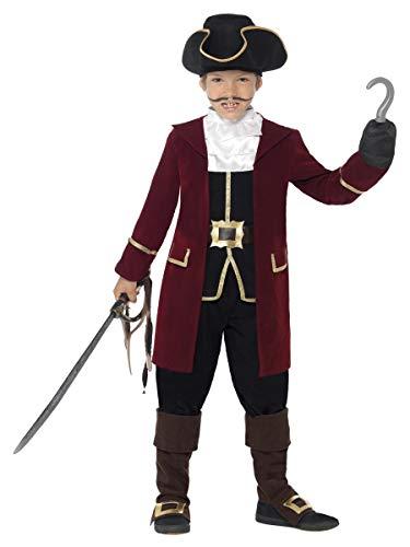 Smiffys Costume Deluxe Capitano Dei Pirati, Nero,con giacca, Gilet, Pantaloni, Fazzolet
