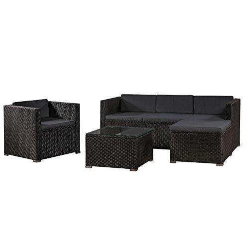 ArtLife Polyrattan Lounge Punta Cana L schwarz – Gartenlounge für 4-5 Personen – Gartenmöbel-Set mit Sessel, Sofa, Tisch, Hocker - Bezüge Dunkelgrau