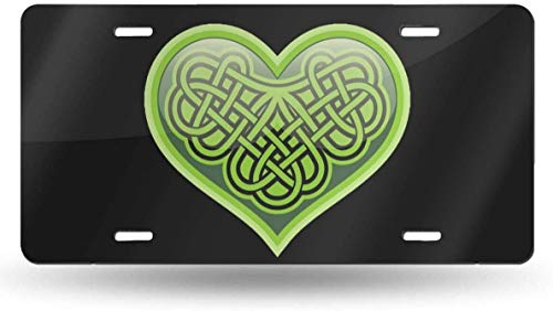 WSEDRF Shamrock Heart Celtic Symbol Novelty License Plate Cover License Plate Tag Sign Front Decorative Car Accessories 6'x12'