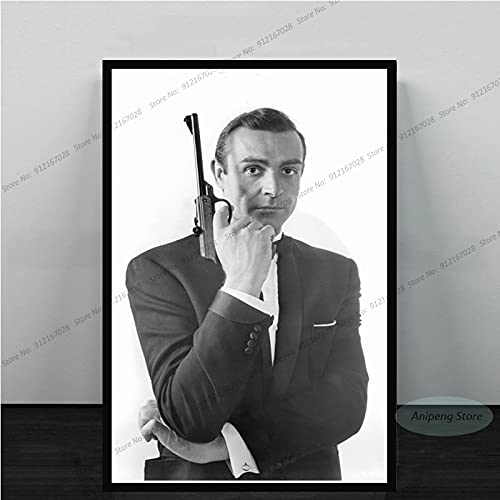meishaonv Sean Connery Attore di Film James Bond 007 with Guns Poster Art Canvas Painting Picture for Living Room Home Decor A1908 50 × 70 CM Senza Cornice