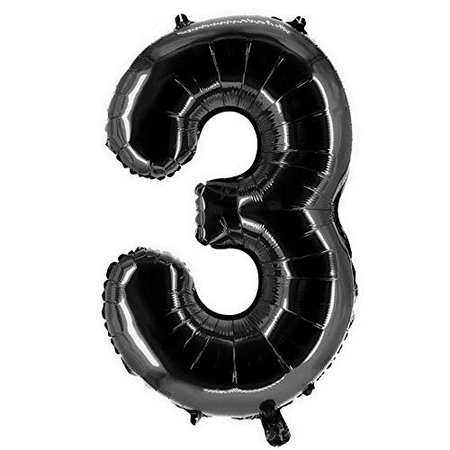 Party Factory XXL Folienballon Zahl 3, Luftballon 100cm, schwarz, Geburtstag, Abi, Jubiläum, Party Ballon, Heliumballon, Deko