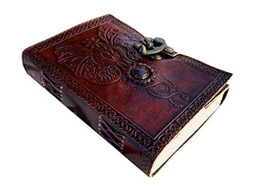 Large Embossed Leather Bound Celtic Sketch Journal with Latch Dungeons and Dragon Steampunk Moon Stone Steampunk Unlined Paper Blank Spell Book of Shadows Fantasy Writing Wiccan Notebook 8x6 Inches