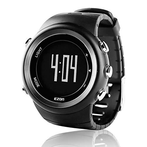 Ezon T023 Herren-Digitalsportuhr, großes Display für Laufen im Freien, 5 ATM wasserdicht, Kalorienzähler, Stoppuhr, Schrittzähler, Alarm, Stoppuhr