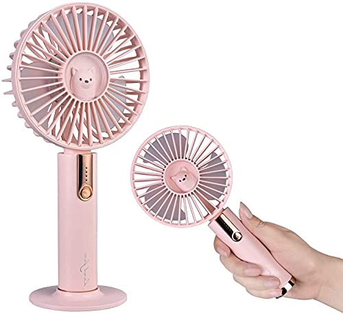 Mini ventilador portátil, Caslon portátil recargable USB con ajuste de volumen de aire de 3 etapas, ventilador de escritorio / portátil para oficina (rosa)