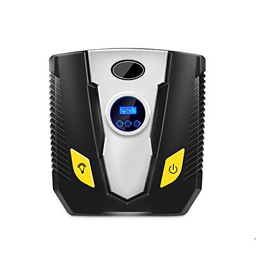 MIKLL Compresseur d'air Portable, Gonfleur Electrique Digital 12V 150 PSI avec Haute luminosité LED 3 Adaptateurs de Buse,Câble 3m pour Voiture, Vélo, Camion, Ballons de Sport et d'autres Gonflables