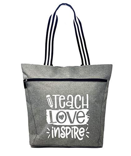 Large Teacher Tote Bags - Perfect for Work, Gifts for Teachers, Teacher Appreciation Day (Teach Love Inspire Gray)