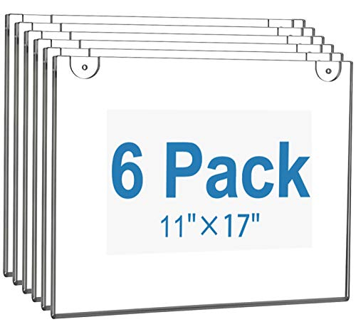 MaxGear Acrylic Sign Holder 11 X 17 Wall Mount Sign Holder Clear Plastic Picture Frames with 3M Tape Adhesive and Screws for Office, Home, Store, Restaurant - Landscape, 6 Pack