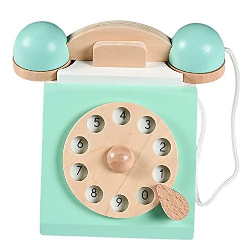 Colcolo Simulación Retro Antiguo Dial Teléfono Juego de Simulación Juguete de Madera Interactivo Juguetes de Educación Temprana para Niños Niñas