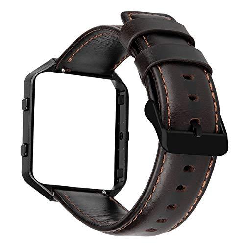 MroTech Horlogeband Lederen Armband compatibel voor Fitbit Blaze Smartwatch Reserveband Leer Kijk Horloge Band met Stalen Frame Polsband Wisselarmband Reserveband -Koffie band/zwarte gesp/zwart frame