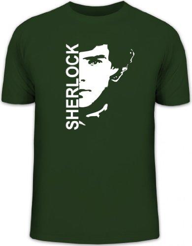 Shirtstreet24, Sherlock, Herren T-Shirt Fun Shirt Funshirt, Größe: 3XL,dunkelgrün