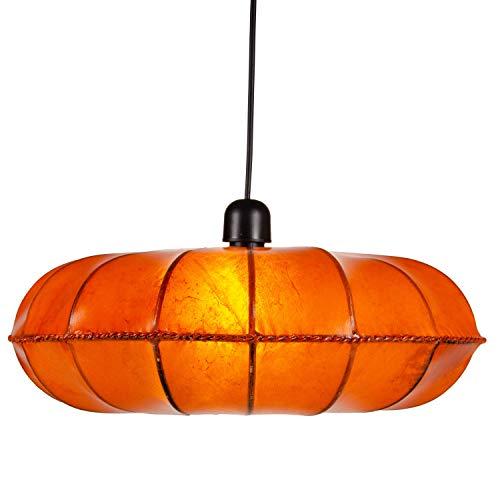 Oosterse lamp hanglamp Chaska Oranje 48cm groot | Marokkaanse lederen lamp hennalamp lamp lamp met henna | Orient lampen voor woonkamer keuken of hangend boven de eettafel