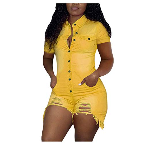 WUAI-Women Sexy Short Sleeve Denim Jumpsuits Mini Shorts One Piece Stretchy Bodycon Rompers Clubwear(Yellow,Large)