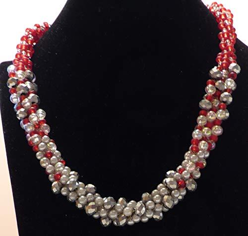 Elegante, modische Kumihimo-Kette mit Glasperlen in verschiedenen Rot- und Silbertönen, Magnetverschluss