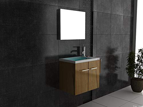 Alpenberger Badmöbel 50 cm Breite | Minimo Handwaschbecken aus Mineralguss + Waschbeckenunerschrank mit SoftClose Funktion + Design Spiegel | Badezimmermöbel Set 2- teillig in Walnuss
