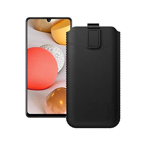 Slabo Cubierta Protectora para Samsung Galaxy A42 5G Estuche de Bolsa Protectora con Cierre magnético Hecho de Cuero de PU - Negro | Black
