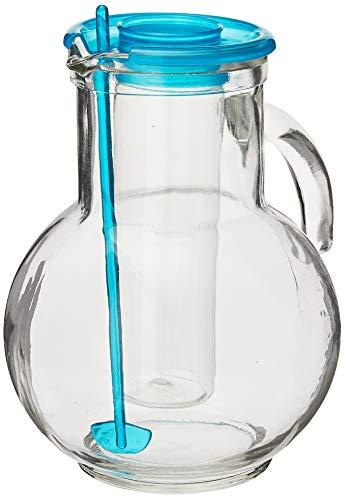 Glaskrug mit Einsatz für Eiswürfel von Bormioli, 2Liter, Deckelfarbe: türkis