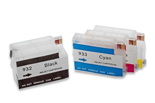 vhbw Cartuchos de Tinta vacío Multicolor para Usar en Lugar de HP 932, 932XL, 933, 933XL (Compatible, Pack de 4 + Chip)