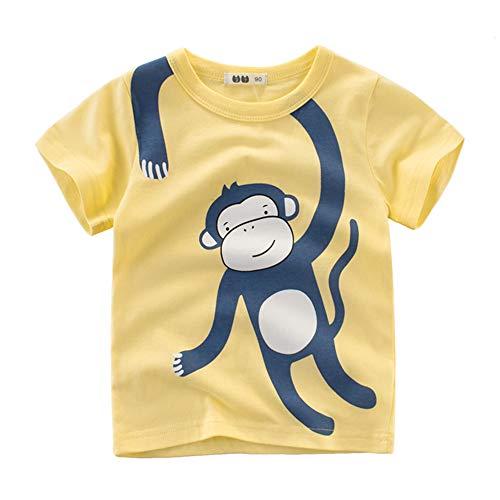 Treer Kinder Jungen Mädchen T-Shirt Baumwolle Rundhals Kurzarm Shirt Sommer T-Shirt Oberteil 90-140 Größe - Cartoon Tiere Drucken Netter Stil (Blauer AFFE,100cm)
