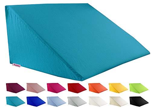 beties Big Comfy Basic Housse de coussin biseautée Env. 62 x 49 x 30 cm Housse de coussin 100 % coton Disponible dans de nombreuses couleurs joyeuses Bleu pétrole