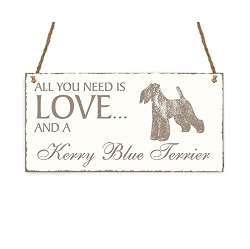 SCHILD Dekoschild « All you need is LOVE and a KERRY BLUE TERRIER » Hund Shabby Vintage Holzschild Türschild